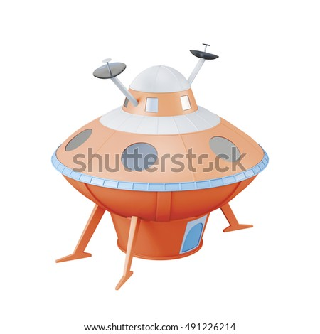 Orange UFO isolated on white background. 3d rendering.