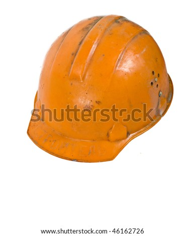 Orange used worker helmet isolated on white - stock photo