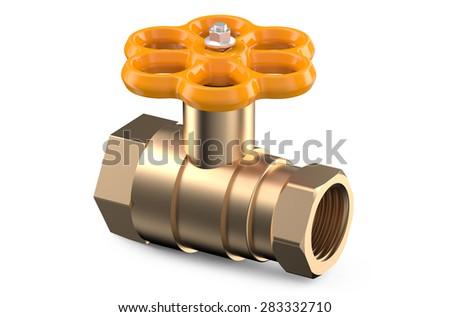 orange valve isolated on white background - stock photo