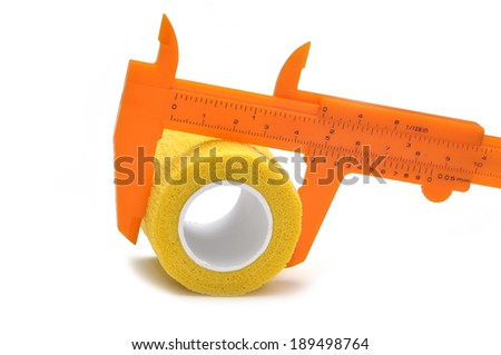 Orange vernier caliper isolated on white background - stock photo