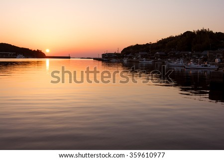 Orange view of harbor and sunset in Shimonoseki, Yamaguchi