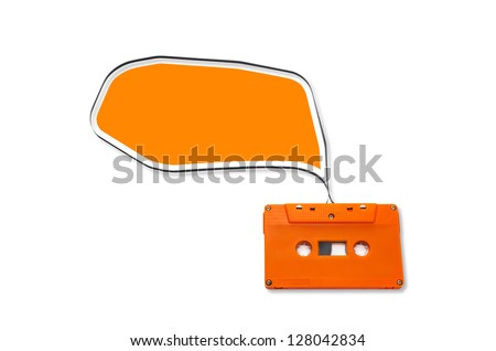 Orange Vintage audio cassette with speech bubbles  isolated on white background. - stock photo