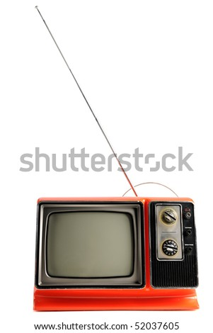 Orange vintage television from the 1970s isolated over white background - With clipping path - stock photo