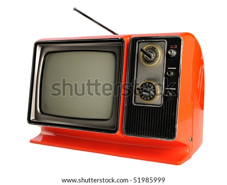 Orange vintage television with antenna isolated over white background - With clipping path - stock photo