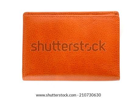 Orange wallet isolated on white background - stock photo