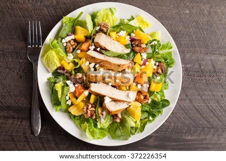 Orange Walnut Chicken Salad top view - stock photo
