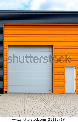 orange warehouse - stock photo