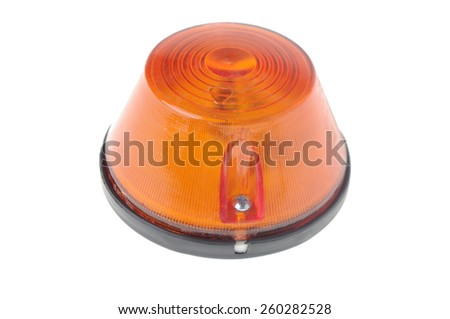orange warning light isolated on white  - stock photo