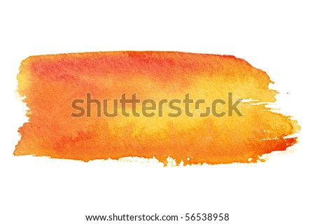 Orange watercolor brush strokes with space for your own text - stock photo