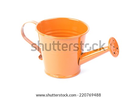 Orange watering can isolated on white background  - stock photo