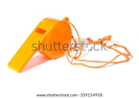 Orange whistle isolated on the white background - stock photo