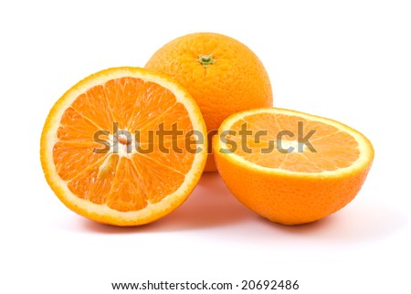 Orange. Whole and halves isolated on the white background