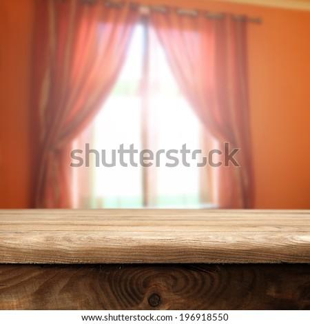 orange window and table  - stock photo