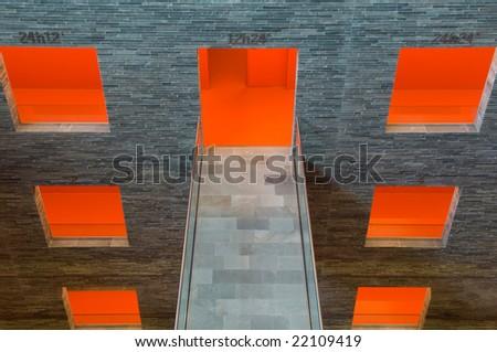 orange windows with a bridge - stock photo