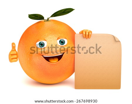 orange with a sign - stock photo