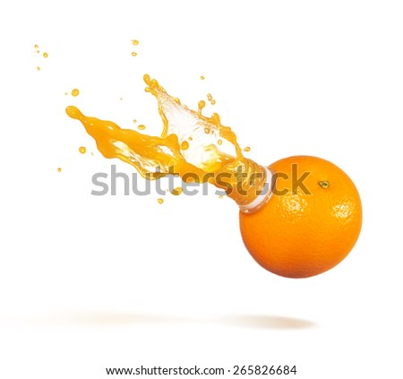 orange with bottle neck and juice splashes - stock photo