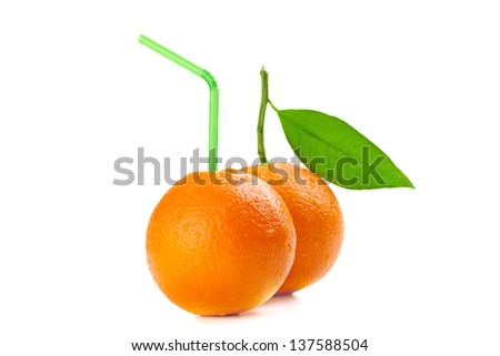 Orange with cocktail straw isolated on white