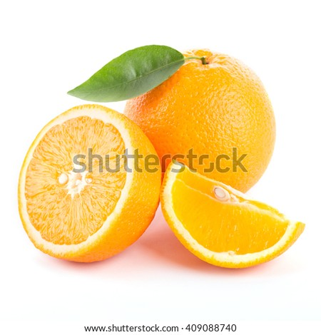 Orange with cut and green leaves isolated on white background. - stock photo