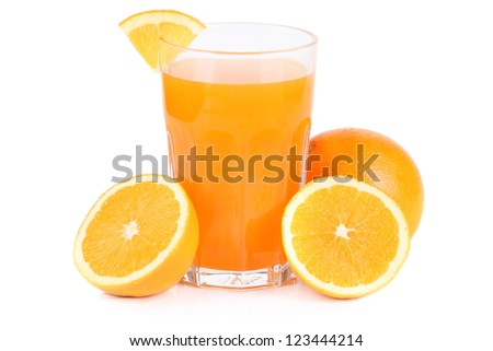 orange with fresh orange juice - stock photo