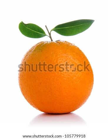 Orange with green leaves on white  background