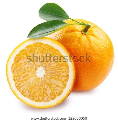 Orange with half on a white background. - stock photo