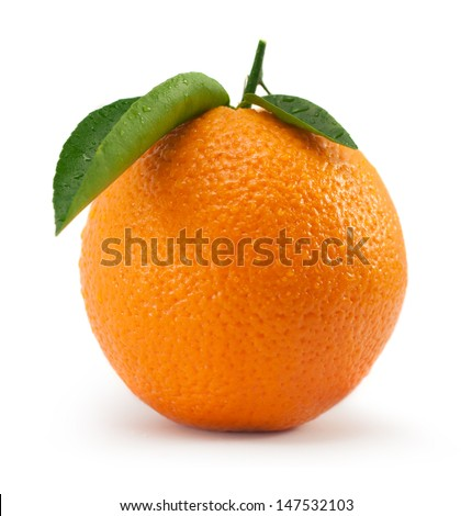 Orange with leaf