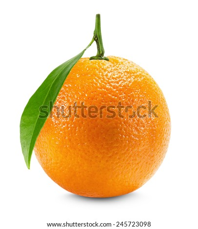 Orange with leaf isolated on the white background
