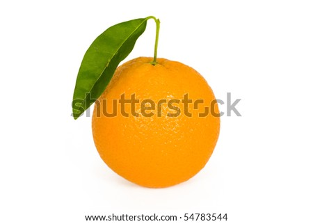 orange with leaf isolated on white background
