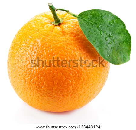 Orange with leaf on a white background. - stock photo