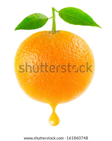 Orange with leaves and drop of juice isolated on white - stock photo
