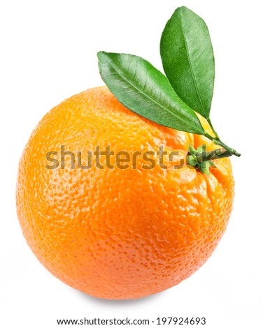 Orange with leaves isolated on a white background. Image with a maximum depth of field.