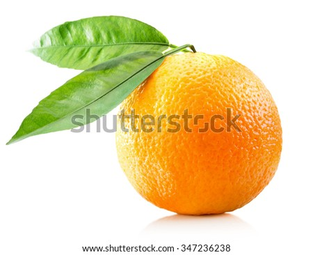 orange with leaves isolated on the white background