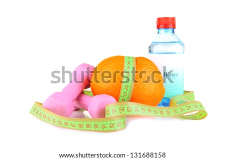 Orange with measuring tape, dumbbells and bottle of water, isolated on white - stock photo