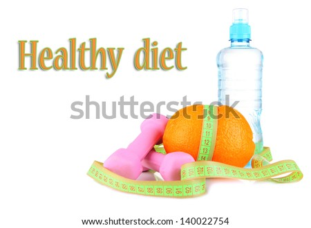 Orange with measuring tape, dumbbells and bottle of water, isolated on white