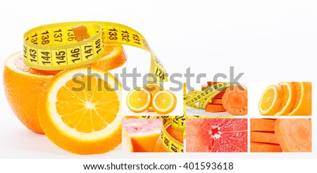 Orange with measuring tape. Health concept with carrot  grapefruit and slices of oranges