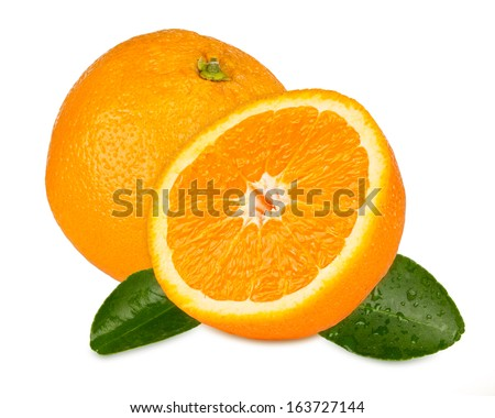 orange with orange slices and leafs - stock photo