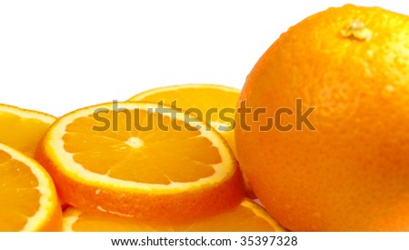 Orange with slices isolated on white