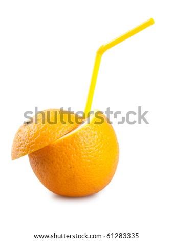 orange with tube isolated on white - stock photo
