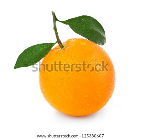 orange with two leaves on white