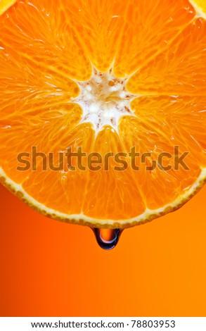 Orange with water - stock photo
