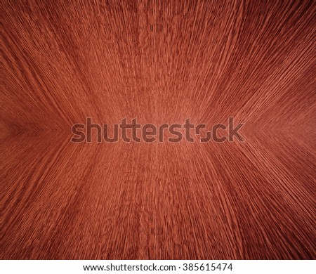 Orange wood grain, in mirror image, abstract background texture with diminishing perspective / depth / motion effect. - stock photo
