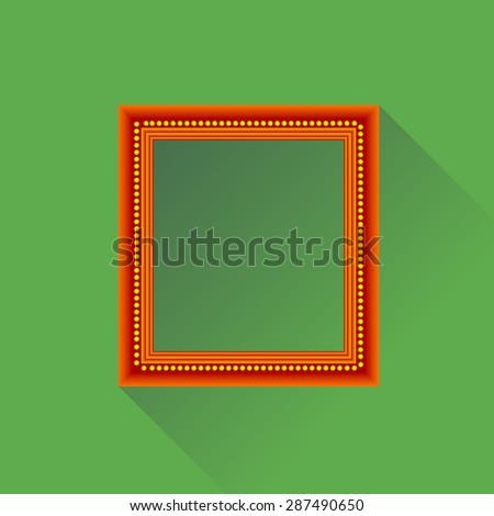 Orange Wooden Frame Isolated on Green Background. Long Shadow. - stock photo