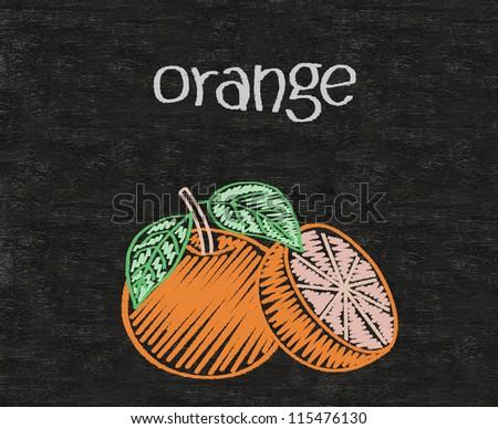 orange written on blackboard background high resolution - stock photo