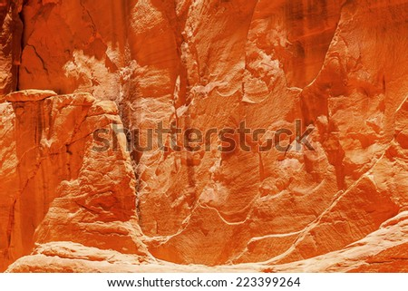 Orange Yellow Sandstone Rock Canyon Abstract Sand Dune Arch Arches National Park Moab Utah USA Southwest. Wind and Sandstone canyon walls create many abstracts close up. - stock photo