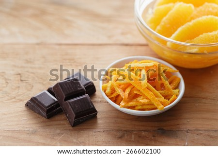 Orange zest and dark chocolate - stock photo