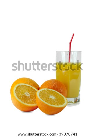 Oranges and glass with orange juice, isolated