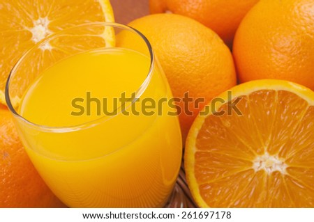 Oranges and jucie - full frame background - stock photo