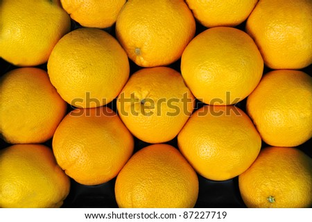 oranges at a greengrocer at a food market