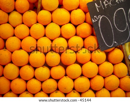 Oranges at a market stand