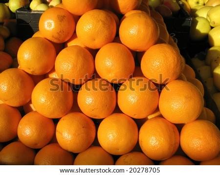 Oranges at farmers market - stock photo